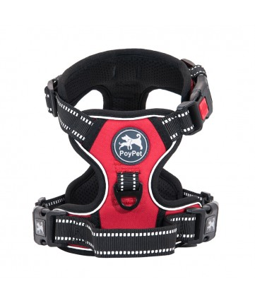 PoyPet  No Pull Dog Harness Lockable- 3M Reflective - 2 Metal Front & Back Leash Hooks  ( Red )