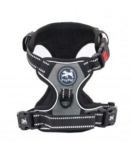 PoyPet No Pull Dog Harness Lockable- 3M Reflective - 2 Metal Front & Back Leash Hooks  ( Grey )
