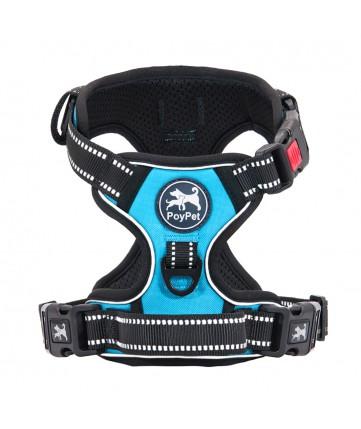 PoyPet No Pull Dog Harness Lockable- 3M Reflective - 2 Metal Front & Back Leash Hooks   ( Blue )
