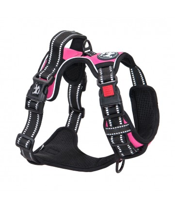 PoyPet  No Pull Dog Harness Lockable - 3M Reflective - 2 Metal Front & Back Leash Hooks  ( Pink )