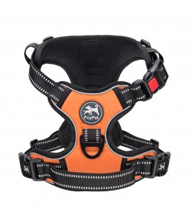 PoyPet  No Pull Dog Harness Lockable - 3M Reflective - 2 Metal Front & Back Leash Hooks ( Orange )