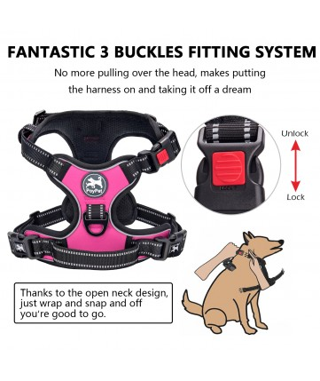PoyPet No Pull Dog Harness Lockable - 3M Reflective - 2 Metal Front & Back Leash Hooks  ( Black )