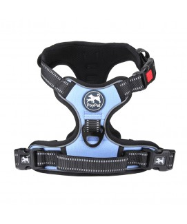PoyPet 2018 No Pull Dog Harness - 3M Reflective - 2 Metal Front & Back Leash Hooks  - With Easy Control Handle - 3 Snap Buckles ( Light Blue )