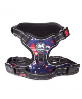 PoyPet 2018 No Pull Dog Harness - 3M Reflective - 2 Metal Front & Back Leash Hooks  - With Easy Control Handle - 3 Snap Buckles ( Printed Blue )