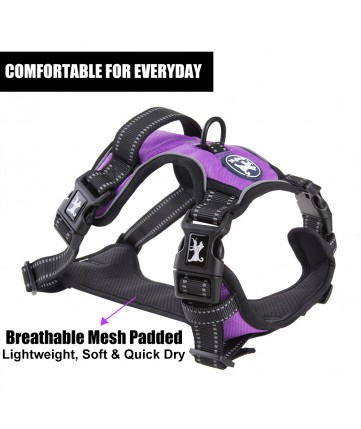 PoyPet 2019 No Pull Dog Harness - 3M Reflective - 2 Metal Hooks - With Easy Control Handle - 4 Snap Buckles( Purple )