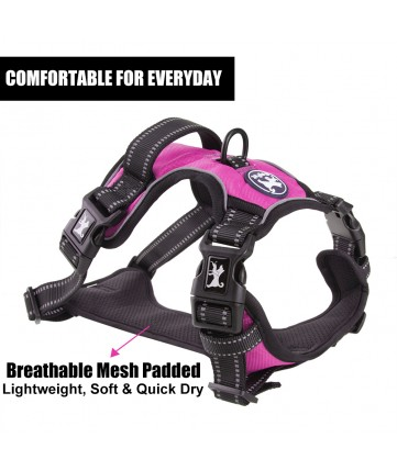 PoyPet 2019 No Pull Dog Harness - 3M Reflective - 2 Metal Hooks - With Easy Control Handle - 4 Snap Buckles( Pink )