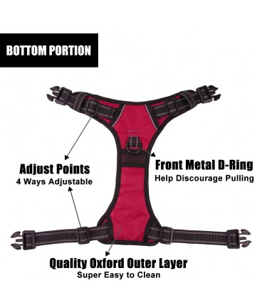PoyPet 2019 No Pull Dog Harness - 3M Reflective - 2 Metal Hooks - With Easy Control Handle - 4 Snap Buckles( Red )