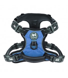 PoyPet 2019 No Pull Dog Harness - 3M Reflective - 2 Metal Hooks - With Easy Control Handle - 4 Snap Buckles( Blue )