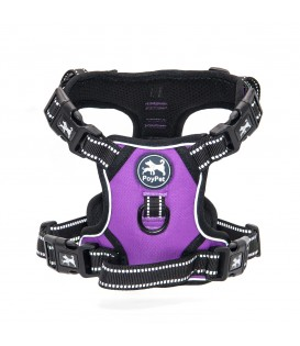 PoyPet 2019 No Pull Dog Harness - 3M Reflective - 2 Metal Hooks - 4 Snap Buckles( Purple )