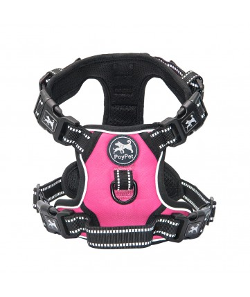 PoyPet 2019 No Pull Dog Harness - 3M Reflective - 2 Metal Hooks - 4 Snap Buckles( Pink )