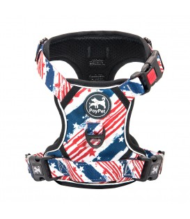 PoyPet  [Upgrated] No Pull Dog Harness  - 3M Reflective - 3 Snap Buckles (USA Flag)