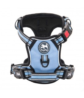 PoyPet    [Upgrated]  No Pull Dog Harness  - 3M Reflective - 3 Snap Buckles ( Light Blue )