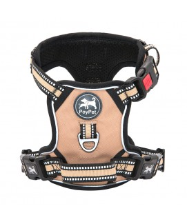 PoyPet    [Upgrated]  No Pull Dog Harness  - 3M Reflective - 3 Snap Buckles ( Khaki )