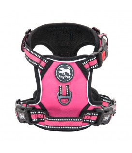 PoyPet  [Upgrated]  No Pull Dog Harness  - 3M Reflective - 3 Snap Buckles ( Pink )