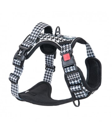 PoyPet  [Upgrated] No Pull Dog Harness  - 3M Reflective - 3 Snap Buckles (Houndstooth)