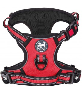 PoyPet [Upgrated] No Pull Dog Harness - 3M Reflective - [Release at Neck] (Red )