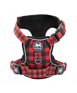 PoyPet  [Upgrated] No Pull Dog Harness  - 3M Reflective - 3 Snap Buckles (Black+Red Grid )