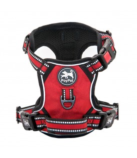 PoyPet  Upgrated No Pull Dog Harness  - 3M Reflective - 3 Snap Buckles (Red )