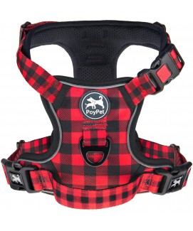 PoyPet  [Upgrated] No Pull Dog Harness  - 3M Reflective - 3 Snap Buckles (Checkered Red )