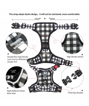 PoyPet  [Upgrated] No Pull Dog Harness  - 3M Reflective - 3 Snap Buckles (Grid )