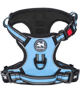 PoyPet [Upgrated] No Pull Dog Harness - 3M Reflective - [Release at Neck] ( Light Blue )
