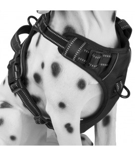PoyPet 3M Reflective -Easy Control- No Pull Dog Harness (Black)