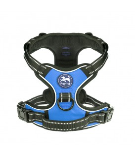 PoyPet No Pull Dog Harness - 2 Snap Buckles - 3M Reflective - 2 Metal Front & Back Leash Hooks With Easy Control Handle  ( Blue, Slide Over The Head Design  )