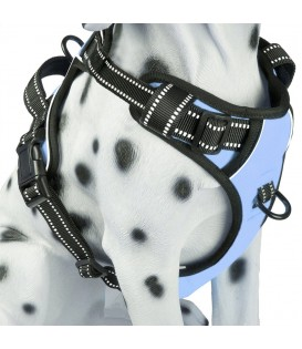 PoyPet 3M Reflective No Pull Dog Harness ( Light Blue ,Over The Head Design)