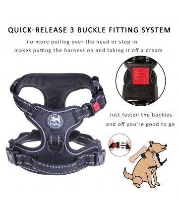 PoyPet 2018 No Pull Dog Harness - 3M Reflective - 2 Metal Front & Back Leash Hooks  - With Easy Control Handle - 3 Snap Buckles ( Black )