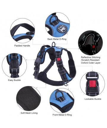 PoyPet 2018 No Pull Dog Harness - 3M Reflective - 2 Metal Front & Back Leash Hooks  - With Easy Control Handle - 3 Snap Buckles ( Blue )