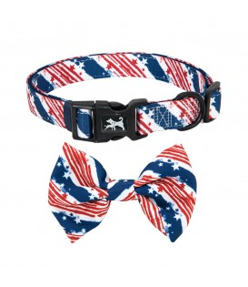 PoyPet  Dog Collar + Bowknot (USA FLag)