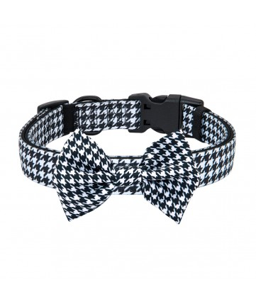 PoyPet Dog Collar + Bowknot (Houndstooth)