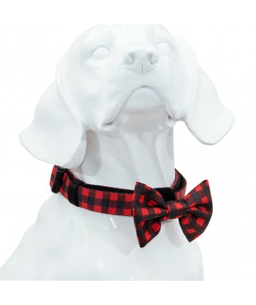 PoyPet  Dog Collar + Bowknot(Black+Red Grid )