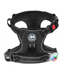 PoyPet LED Flashing Light - No Pull Dog Harness ( Black )