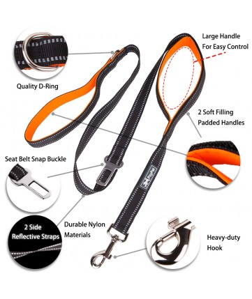 PoyPet  3M Reflective 5 Feet Dog Leash with Car Seat Belt (Black)