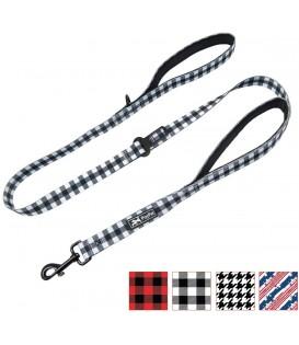 PoyPet 5 Feet Printed Dog Leash with Car Seat Belt (Grid)