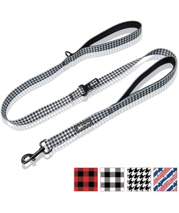 PoyPet 5 Feet Printed Dog Leash with Car Seat Belt (Houndstooth)