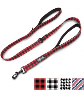 PoyPet 5 Feet Printed Dog Leash with Car Seat Belt (Checkered Red)