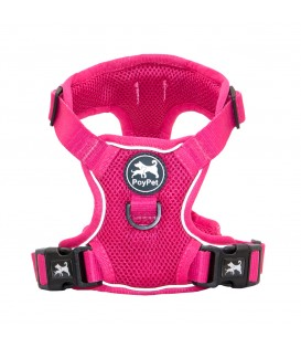 PoyPet  Reflective Soft Breathable Mesh Dog Harness (Fushsia)