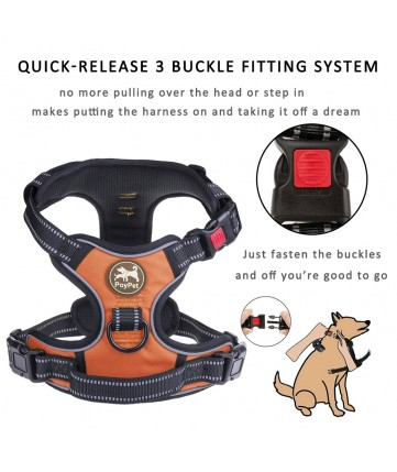 PoyPet 2018 No Pull Dog Harness - 3M Reflective - 2 Metal Front & Back Leash Hooks  - With Easy Control Handle - 3 Snap Buckles ( Orange )