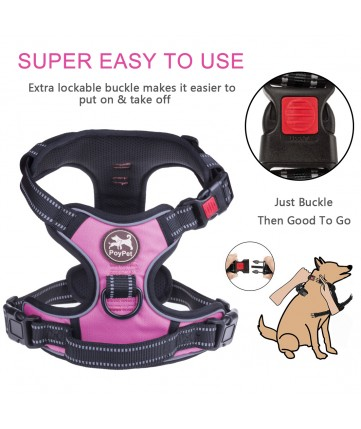 PoyPet 2018 No Pull Dog Harness - 3M Reflective - 2 Metal Front & Back Leash Hooks  - With Easy Control Handle - 3 Snap Buckles ( Pink )