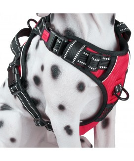 PoyPet 2018 No Pull Dog Harness - 3M Reflective - 2 Metal Front & Back Leash Hooks  - With Easy Control Handle - 3 Snap Buckles ( Red )